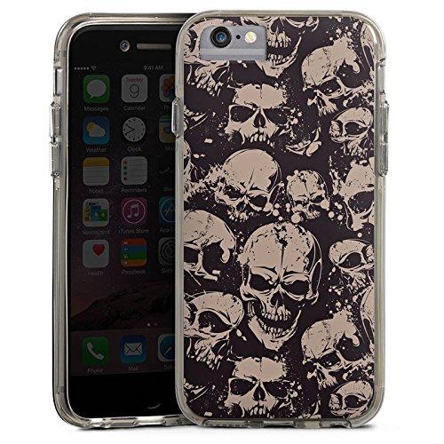 Apple iPhone X Bumper Hülle Bumper Case Glitzer Hülle Skull Boese Gothic Bumper Case transparent grau
