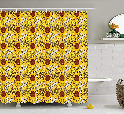 tgyew Sport Shower Curtain, Cute Cartoon Baseball and Tennis Summer Background Bats Gloves Microphone, Fabric Bathroom Decor Set with Hooks, 60W X 72L Inche Long, Yellow Brown White