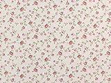 Dekostoff Ranken mit Rosen, natur/rosa, Meterware ab 0,5 m