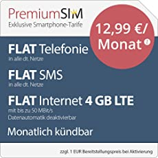PremiumSIM LTE M Allnet Flat [SIM, Micro-SIM und Nano-SIM] monatlich kündbar (FLAT Internet 4 GB LTE mit max. 50 MBit/s mit deaktivierbarer Datenautomatik, FLAT Telefonie, FLAT SMS und FLAT EU-Ausland, 12,99 Euro/Monat)
