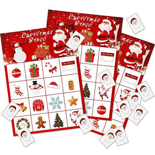 Weihnachten Bingo Spiel Weihnachten Party Bingo Spiele Weihnachten Party Zubehör für 16 Spieler Party Gefallen (Stil 1)