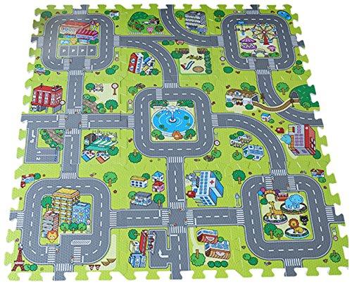 Agares Kinder Spielmatte Spielteppich Puzzlematte Bodenmatte Schaumstoffmatte Stadt Matte