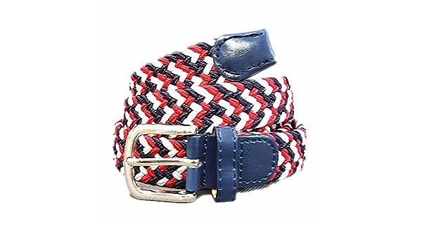 9064faa2827e5c xxl-cosmetic Flechtgürtel Unisex elastisch Damen Herren Stretch Gürtel  geflochten #ES Blau Rot: Amazon.de: Bekleidung
