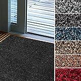 Fußmatte Karat für Eingangsbereiche | extra saugstarke Schmutzfangmatte aus Baumwolle | rutschfest | waschbar | zahlreiche Größen | viele Farben | 100x150 cm | Grau