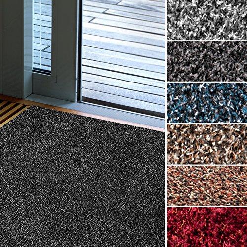 Fußmatte Karat für Eingangsbereiche | extra saugstarke Schmutzfangmatte aus Baumwolle | rutschfest | waschbar | zahlreiche Größen | viele Farben | 100x150 cm | Rot