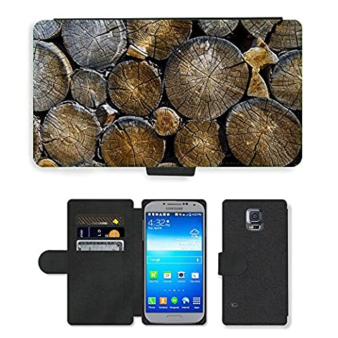 PU Leather Cover Custodia per // M00421557 Journaux Lumber Bois Bois Logging // Samsung Galaxy S5 S V SV i9600 (Not Fits S5 ACTIVE)