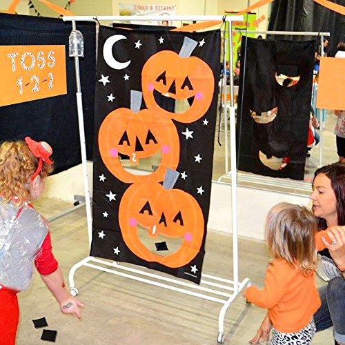 AerWo Halloween Kürbis Spiel Hängende Art Kürbis Bohnenbeutel Toss Spiel + 3 Bohnenbeutel, Halloween Party Cornhole Party Spiele für Kinder und Erwachsene 76X138cm - 6