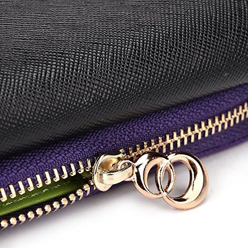 Kroo d'embrayage portefeuille avec dragonne et sangle bandoulière pour Prestigio MultiPhone 5400Duo Multicolore - Black and Green Multicolore - Black and Purple