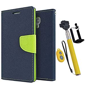 Aart Fancy Diary Card Wallet Flip Case Back Cover For Samsung 8262 - (Blue) + Remote Aux Wired Fashionable Selfie Stick Compatible for all Mobiles Phones By Aart Store