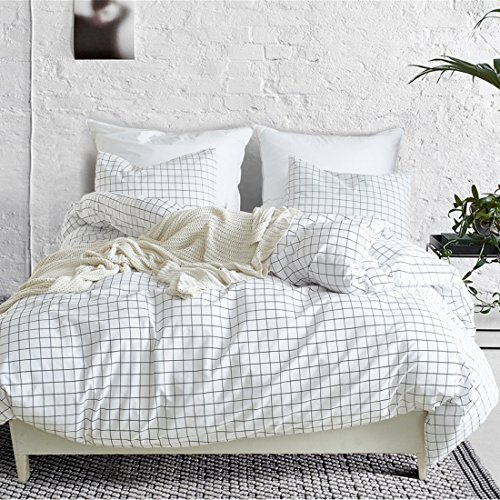 3-Teiliges Mini Grid Bettbezug Set, Moderne Schwarz und Weiß Plaid Kariert Muster Tröster Cover mit Reißverschluss Wende Bettwäsche Sets Queen Grid -