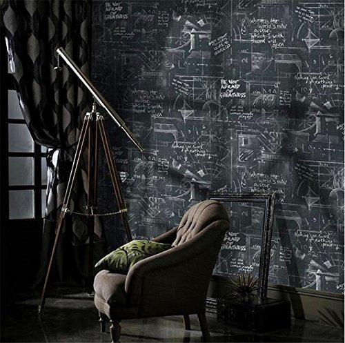 QXLML Papier peint American retro personnalité affiche Anglais lettres tableau noir PVC fond d'écran étude bar restaurant fond d'écran 10 * 0.53 (M) ( Color : Carbon black )