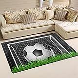yibaihe, leicht, bedruckt mit Deko-Teppich, Teppich, modern Fußball-Gras Grün-wasserabweisend stoßfest. Für Wohn- und Schlafzimmer, 153 x 100 cm