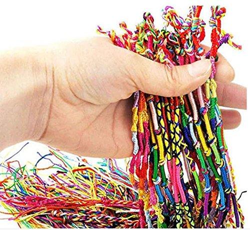 Hwiionne Cuerda Tejido a Mano Hippie Amistad Cuerdas Pulsera Brazalete Pulsera de Colores Pulsera para el Tobillo 10pcs