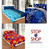 [Sponsored]Stop N Shop Super Home Combo Set Of 3 Grace Cotton King Size Double Bedsheet With 6 Pillow Covers