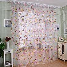 Sundlight Gardine Aus Voile Lichtdurchlssig Fr Wohnzimmer Schlafzimmer Kinderzimmer Bunte Blumen Gedruckt 100 200cm