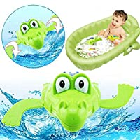 rycnet Lovely Cartoon Animal Swimming Crocodile Wind-up Clockwork Child Pool Bath Toys - Random Color