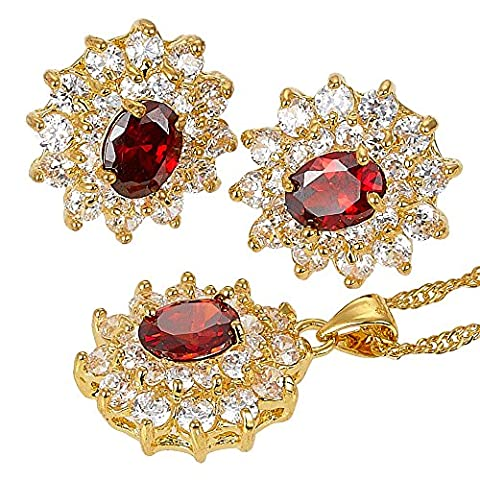 Rizilia Jewellery Gold Plated Oval Cut Prong Setting Cluster Stone Red Ruby Color Gemstone Slide Pendant Curb Chain Necklace With (Length 46cm/18inch ) Stud Earrings Jewelry Set[Free Jewelry