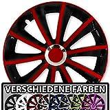 (Farbe und Größe wählbar) 15 Zoll Radkappen GRAL Bicolor (Schwarz-Rot) passend für fast alle Fahrzeugtypen – universal