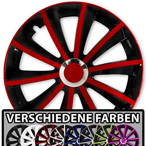 (Farbe und Größe wählbar) 15 Zoll Radkappen GRAL Bicolor (Schwarz-Rot) passend für fast alle Fahrzeugtypen - universal (Reifen Für Toyota Sienna)