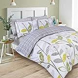 Dreamscene Luxurious Allium Duvet Set with Pillowcase, Polyester/Cotton, Grey, Double