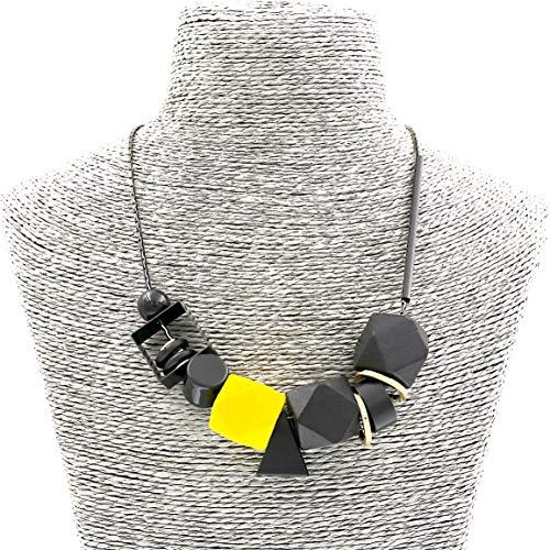 Mode Schmuck Mädchen Holz Platz Anhänger Schwarz Gelb Erklärung Halskette für Frauen