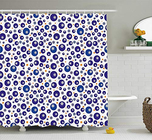 Curtain, Blue and Orange Polka Dots with Little Spring Flowers Chamomiles and Daisies, Fabric Bathroom Decor Set with Hooks, 72x72 inches Extra Long, Blue White Orange ()