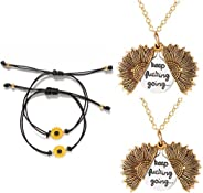 GVUSMIL You are My Sunshine Engraved Pendant Necklace Locket Sunflower Handmade Boho Friendship Bracelets Jewelry Set for Wo