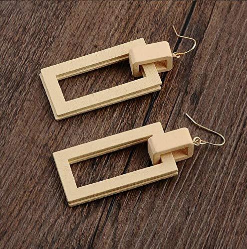 XAFXAL Damen Ohrringe,Damenmode Persönlichkeit Hohlen Double-Layer-Quadrat Runde Geometrische Holz- Anhänger Beige Ohrringe Schmuck -