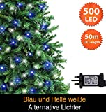 Weihnachtsfee-Lichter 500 LED blau/helle weiße Alternative Baum Lichter Indoor und Outdoor NetzBetriebene Feen Lichter 50m/164ft beleuchtete Länge mit 10m/33ft grünes Kabel