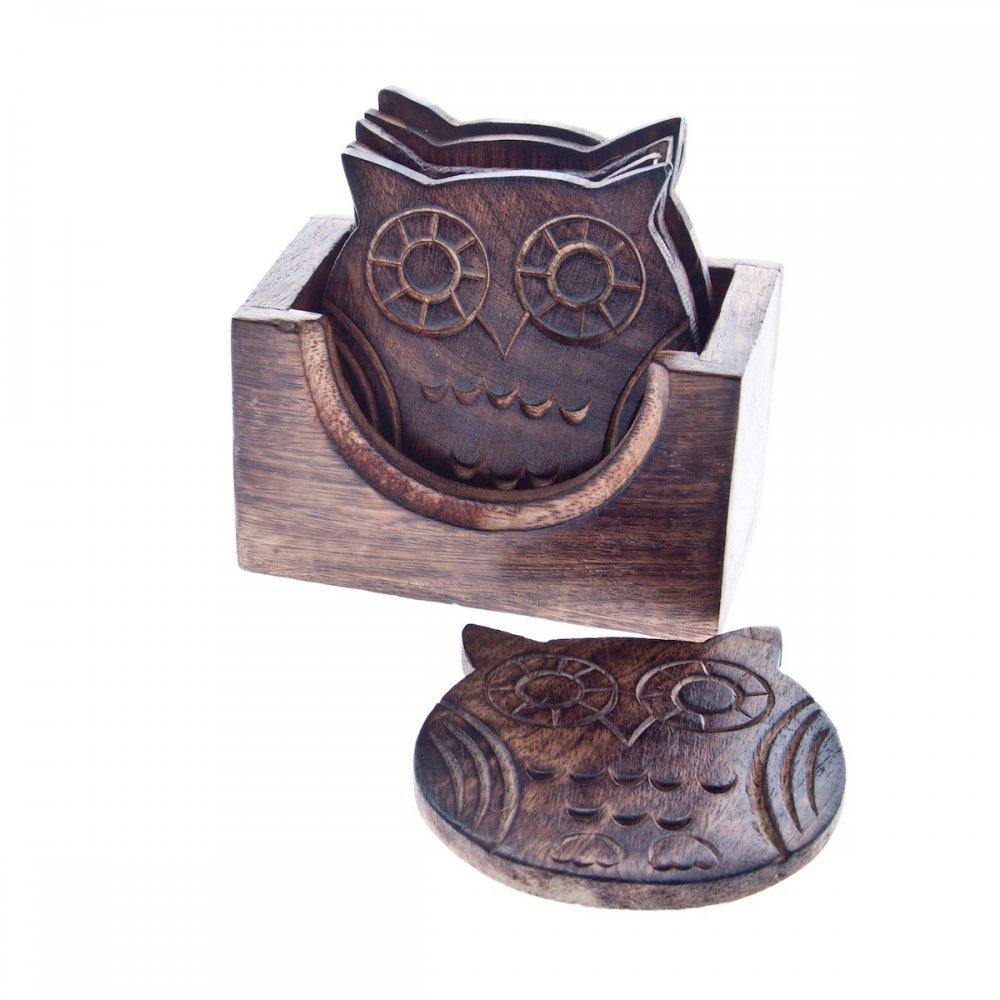 Set of Six Wooden Owl Coasters