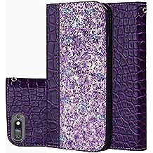 Slynmax HUAWEI P - Funda de piel con tapa para smartphone (cierre magnético, ventosa automática), diseño de cocodrilo brillante, Bright Purple