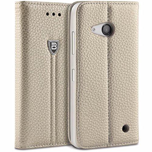 Lumia 550 Hülle, BEZ® Schutzhülle Handyhülle Microsoft Lumia 550 Tasche, Flip Case ausKunstleder Hülle Klappetui mit Kreditkartenhaltern, Ständer, Magnetverschluss - Gold