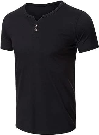 Mens Henley Short Sleeve T-Shirts Classic Cotton Button Round Neck Tee M-2XL