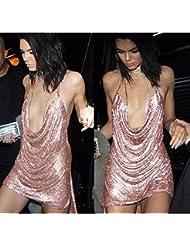 PinWei_ Flash correa falda de cabestro vestido de corte bajo,Oro rosa XL