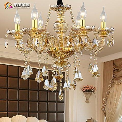 Ancernow caldo retrò creativo E27 Edison lampade a sospensione Cristallo Ambra candele Lampadari per soggiorno, camera da letto, camera bambini, bar, café, ristorante,Rr2270#,Testa 6
