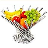 Kwode Corbeille à Fruits Design en Acier Inoxydable - Forme Spirale - Argent, 38 x 38 x 34 cm