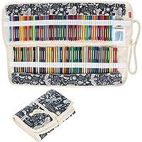 Damero Wrap Tele per 100 matite colorate, cassa del supporto di matita rotolo multiuso Pouch per Ufficio Scolastico, Arte, Artigianato, sacchetto della matita per la corsa, (matite non incluso) Animal World