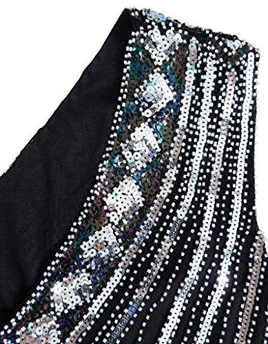 OOFIT Damen 1920er Gatsby Pailletten Kleider, V-Ausschnitt Perlen Franse Flapper Charleston Kleid, Schwarz, Gr.L(EU40) - 4