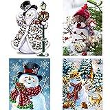 Guwheat 4 Pack 30x 40 cm Natale DIY Pittura Diamante 5D Kit Babbo Natale pupazzo di neve Gatto adorabile Pieno trapano Strass Ricamo Punto croce Pittura per Natale Home Decor per la decorazione della parete (Natale 1)