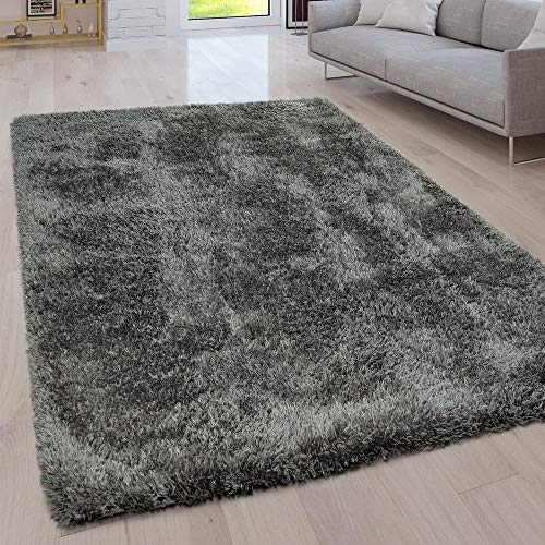 Paco Home Hochflor Wohnzimmer Teppich Waschbar Shaggy Uni In Versch. Größen u. Farben, Farbe:Grau, Grösse:120x160 cm