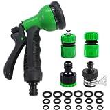 YAAVAAW Garden Hose Spray Gun Set with Hose Connectors,8 Adjustable Patterns High Pressure Nozzles,Multi Function Spray…