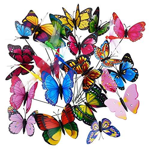 e auf Stöcken Libellen Schmetterlinge Gartenstecker Schmetterlinge Dekorationen Ornamente Party Lieferungen, 24 Stück in Total ()
