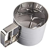 SYGA Baking Stainless Steel Shaker Sieve Cup Manual Flour Sifter with Measuring Scale Mark for Flour Icing Sugar