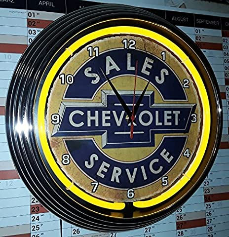 Neon Clock Aged Chevrolet Boxes of Security Service Signed Neon Yellow Yellow Neon Wall Clock, AD 1950s Style