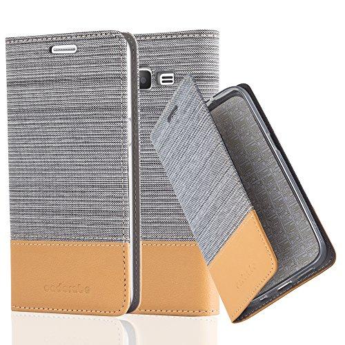Cadorabo Hülle für Samsung Galaxy Grand Prime - Hülle in HELL GRAU BRAUN – Handyhülle mit Standfunktion und Kartenfach im Stoff Design - Case Cover Schutzhülle Etui Tasche Book