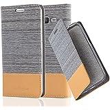 Cadorabo - Funda Estilo Book para Samsung Galaxy GRAND PRIME de Diseño Tela / Cuero Arificial con Tarjetero, Función de Suporte y Cierre Magnético Invisible - Etui Case Cover Carcasa Caja Protección en GRIS-CLARO-MARRÓN