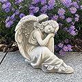 Schlafender Engel aus Steinguss, frostfest von gartendekoparadies.de bei Du und dein Garten