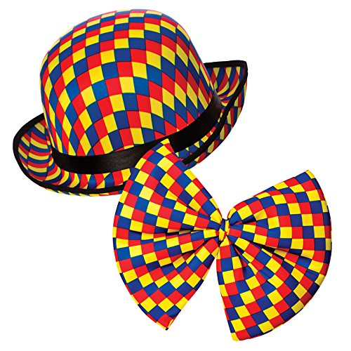 Clown Bowler Hat & Bow Tie **NEhilarious clown costume - Bowler-hut Halloween-kostüm