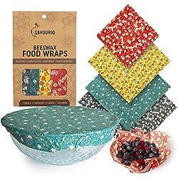 Savourio - Emballage alimentaire réutilisable de cire d'abeille - Ecologique, Biologique, Biodégradable, Serviette de cire d'abeille