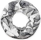 styleBREAKER Loop Schlauchschal mit asymetrischem Guilloche Muster im Destroyed Vintage Look, Schal, Tuch, Unisex 01017039, Farbe:Schwarz-Weiß